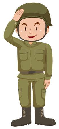 combat boots: Soldier in green uniform illustration Illustration