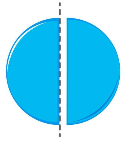 half: Circle cut in half illustration