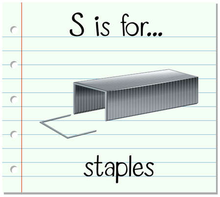 phonics: Flashcard letter S is for staples illustration