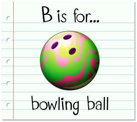 b ball: Flashcard letter B is for bowling ball illustration