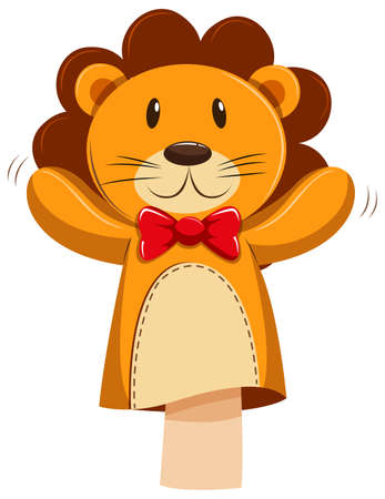 role play: Lion hand puppet with red bow illustration Illustration