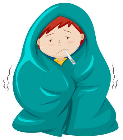 blanket: Kid under blanket having fever illustration Illustration