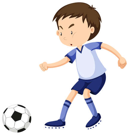 playing soccer: Boy playing soccer alone illustration