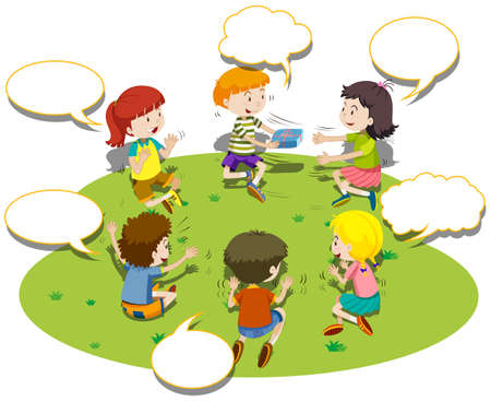 children circle: Children sit in circle and play game illustration