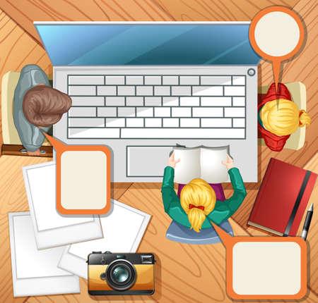 working on computer: People working on computer illustration Illustration