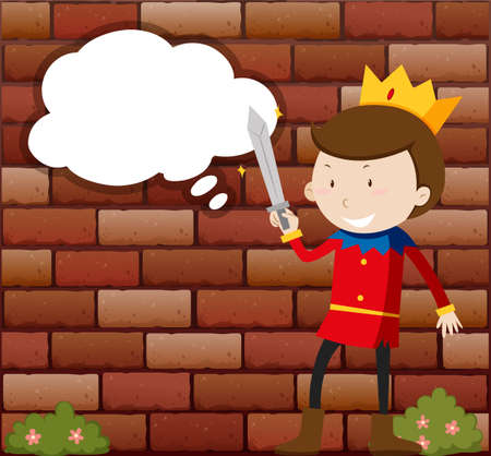 royal person: Little Prince holding sword illustration