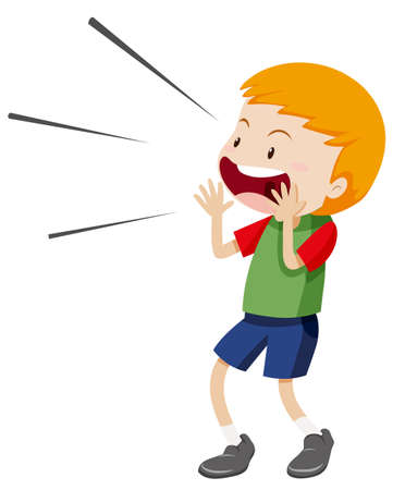 Little boy shouting out illustration