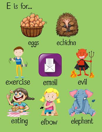Different words for letter E illustration