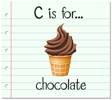 Flashcard letter C is for chocolate illustration