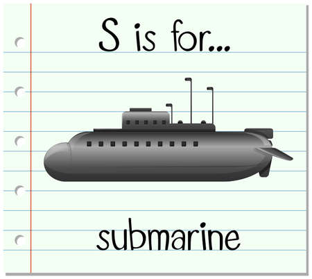 Flashcard letter S is for submarine illustration