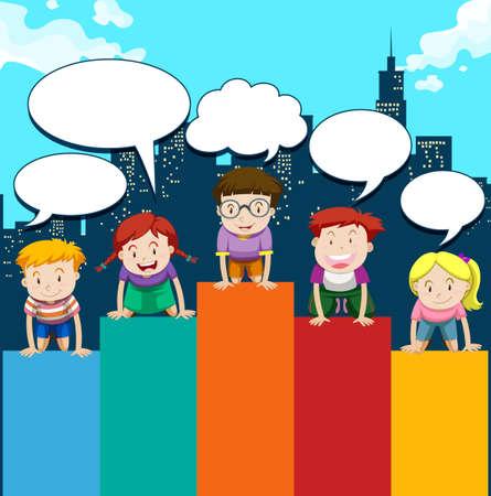 niños sentados: Los niños sentados en la ilustración gráfica de barras Vectores