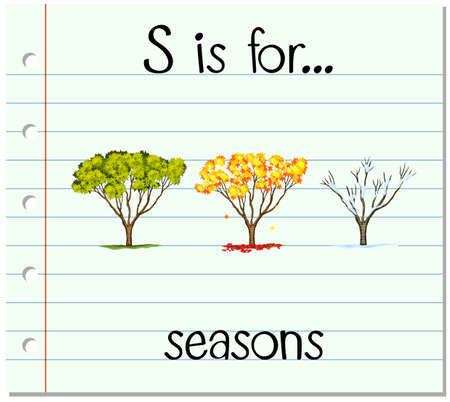 phonics: Flashcard letter S is for seasons illustration