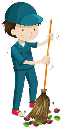 sweeping: Janitor sweeping the fallen leaves illustration Illustration