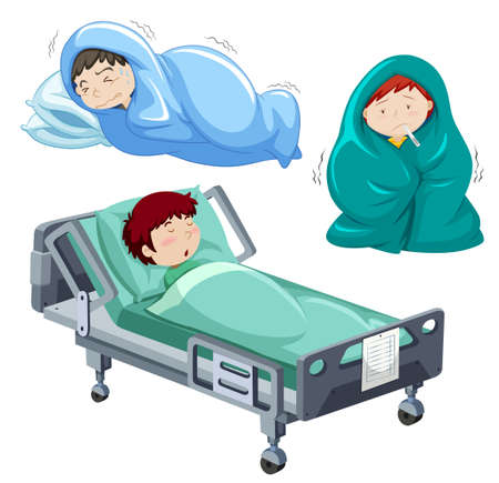 Kids being sick in bed illustration Фото со стока - 55638462
