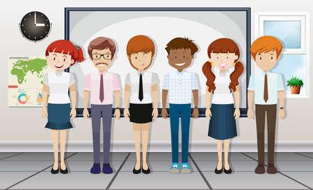 lady clock: Teachers standing in classroom illustration
