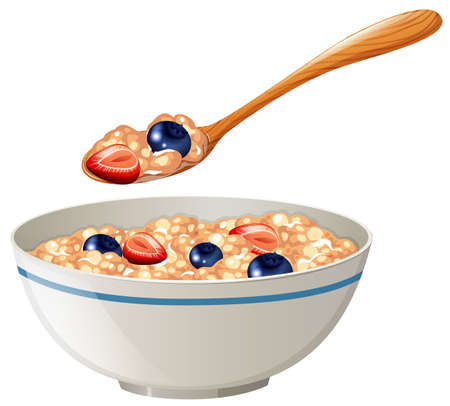 Oatmeal with berries in the bowl illustration