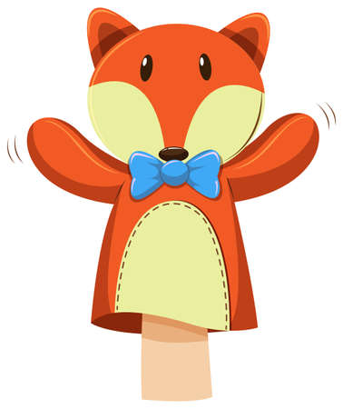 role play: Fox hand puppet with blue bow illustration Illustration