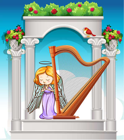 heaven: Fairy playing harp in heaven illustration