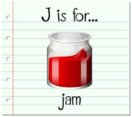 Flashcard letter J is for jam illustration