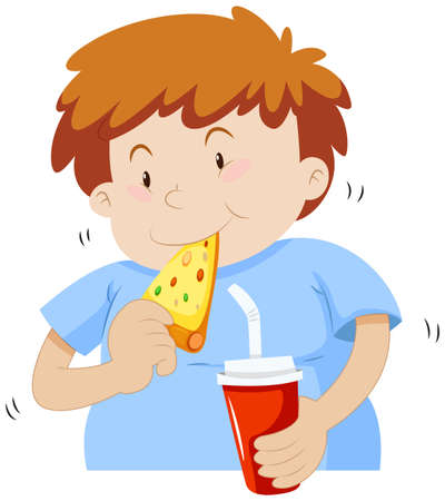 chubby: Fat boy eating pizza illustration