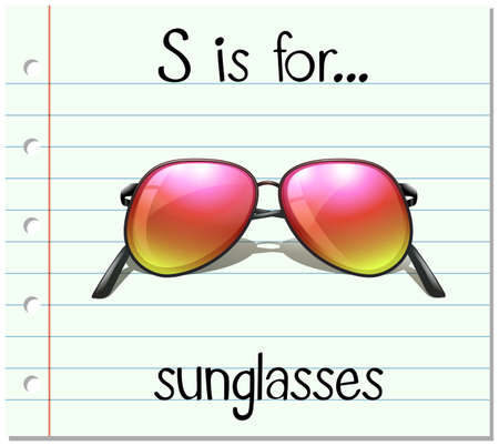 learning series: Flashcard letter S is for sunglasses illustration
