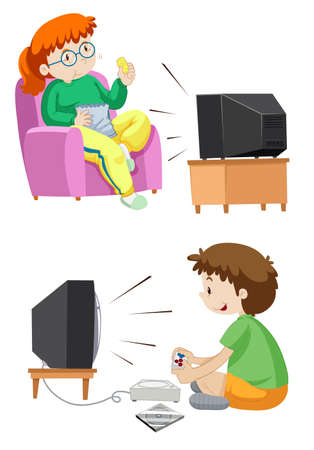 people watching tv: People watching TV and playing games illustration