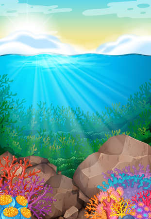 ocean view: Scene with view under the ocean illustration Illustration