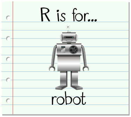 phonics: Flashcard letter R is for robot illustration Illustration