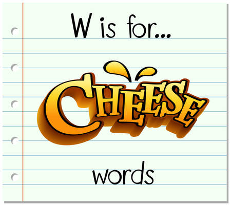 learning series: Flashcard letter W is for words illustration Illustration