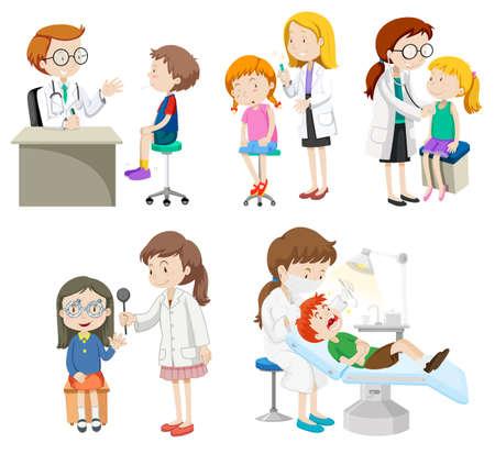pacientes: Los médicos que dan tratamiento a los pacientes ilustración