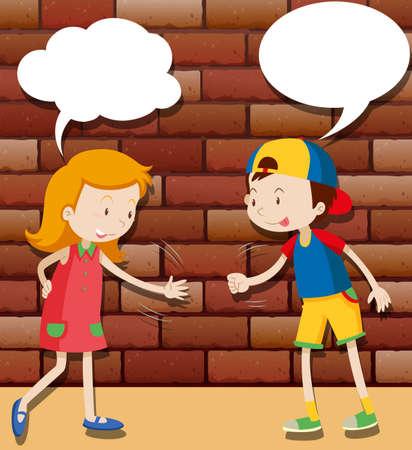bubble speech: Kids playing rock scissors paper illustration Illustration