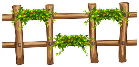 creeper: Wooden fence with plant decoration illustration