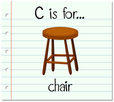 writing chair: Flashcard letter C is for chair illustration Illustration