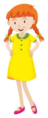 yellow dress: Little girl in yellow dress illustration