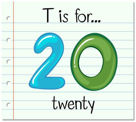 learning series: Flashcard letter T is for twenty illustration