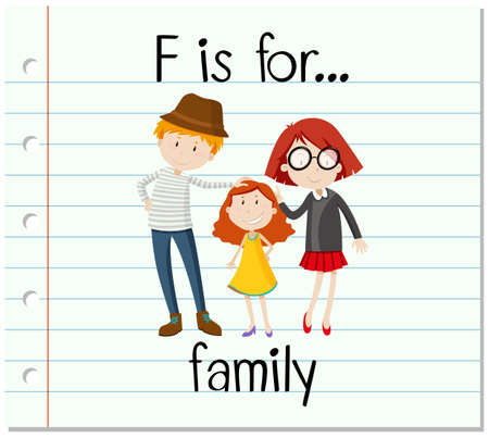 learning series: Flashcard letter F is for family illustration