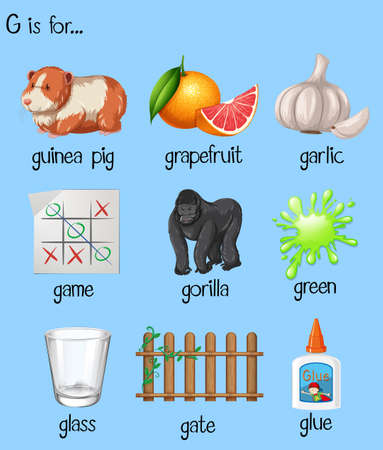 phonics: Many words for letter G illustration