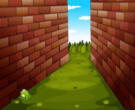 Grass path between buildings illustration Vektoros illusztráció