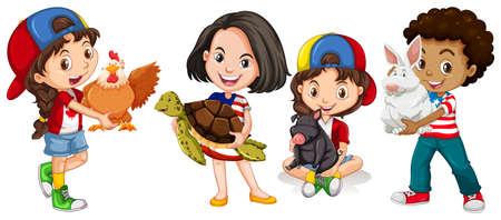 domestic animals: Children with domestic animals illustration