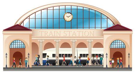 Personas en la estación de tren de la ilustración