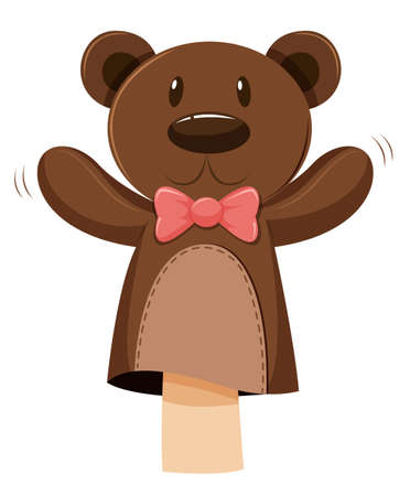 role play: Bear hand puppet with pink bow illustration