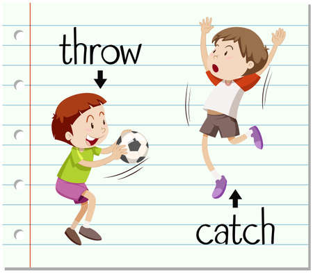 verbs: Word card throw and catch illustration