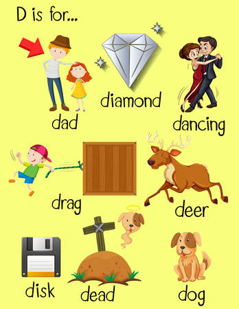 phonics: Letter D and different words for it illustration Illustration
