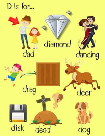 dead dog: Letter D and different words for it illustration Illustration