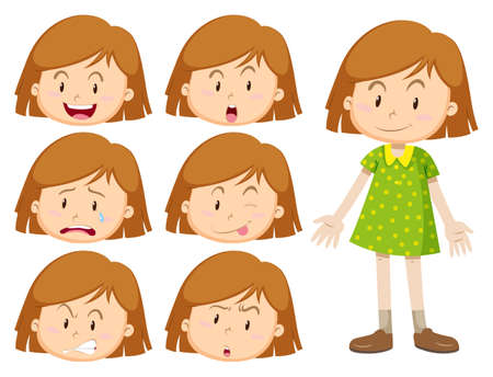 sad teenager: Little girl with many facial expressions illustration Illustration