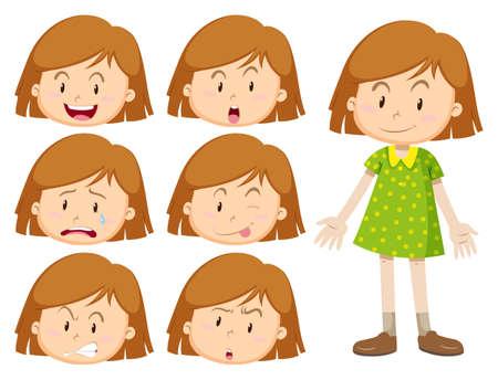 Meisje met vele gezichtsuitdrukkingen illustratie Vector Illustratie