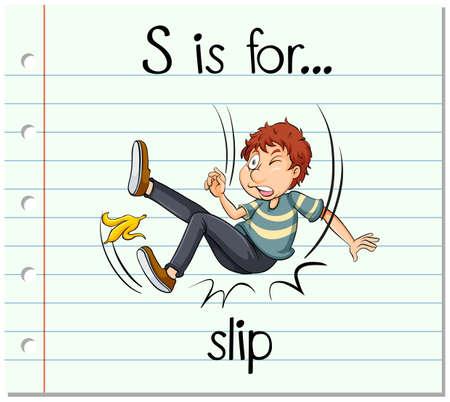 Flashcard letter S is for slip illustration Illustration