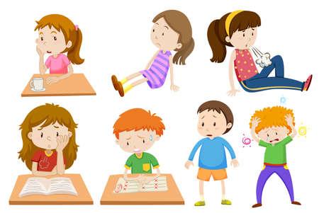 Jongen en meisje moe illustratie Stock Illustratie