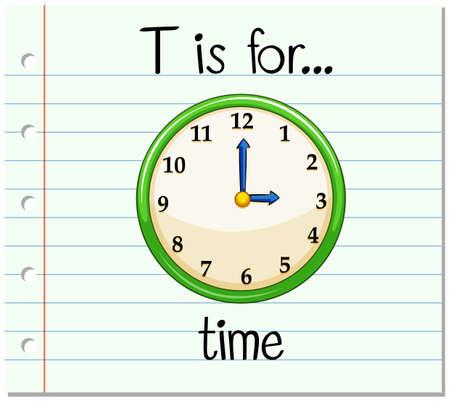 Flashcard letter T is for time illustration Illustration
