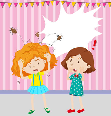 dirty girl: Girl having head lice illustration